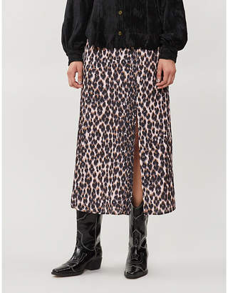 Paige Delfina leopard-print satin midi skirt