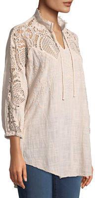 XCVI Jill Crochet-Sleeve Peasant Blouse