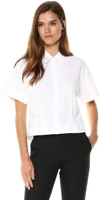 Theory Women's Short Sleeve Cropped Buttondown Shirt