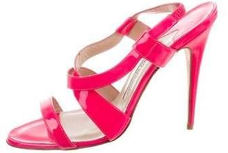 Manolo Blahnik Patent Leather Crossover Strap Sandals Pink Patent Leather Crossover Strap Sandals