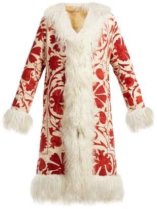 Zazi Vintage - Suzani Embroidered Shearling Coat - Womens - 205 Burgundy White