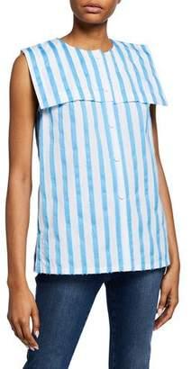 5adf36d4c6 Escada Striped Sleeveless Raw-Edge Sailor Shirt