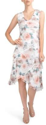 Komarov Tiered Chiffon Dress with Wrap (Regular & Petite)