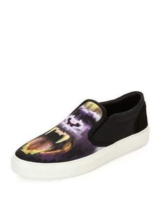 Marcelo Burlon Liullaillaco Gorilla-Print Slip-On Sneaker, Black/Purple $295 thestylecure.com