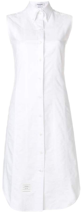 Lace-up Back Sleeveless Button Down Point Collar Shirtdress In Oxford