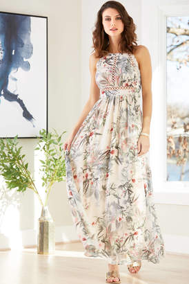 A La Plage Tropical Floral Tie Back Maxi Dress