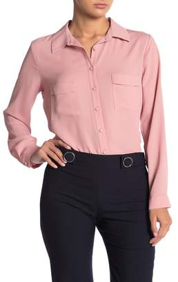 Pleione Solid Covered Button Front Blouse
