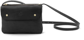 Il Bisonte Cowhide Leather Flap Crossbody Bag, Black