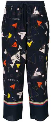 Iceberg triangle motifs print loose trousers