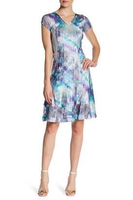 KOMAROV Lace Paneled V-Neck Dress $278 thestylecure.com