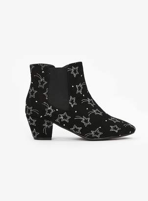 0a533a11463 at Evans · Evans EXTRA WIDE FIT Black Star Embroidered Ankle Boots