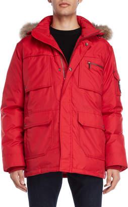 Pajar Canada Real Fur Trim Hooded Down Coat
