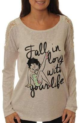 Betty Boop Juniors' Long Sleeve Top with Lace Insert