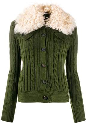 Miu Miu military pocket shearling cardigan