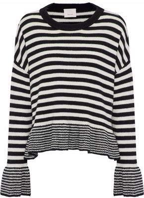 Cinq à Sept Seren Fluted Striped Wool-Blend Sweater