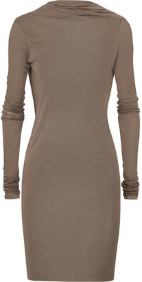 Rick Owens - Draped Open-back Stretch-jersey Mini Dress - Gray $510 thestylecure.com