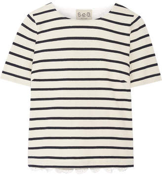 SEA - Striped Cotton And Broderie Anglaise T-shirt - Cream $250 thestylecure.com