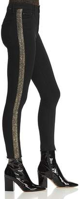 Mother High-Rise Beaded Stripe Skinny Jeans in Guilty Flash