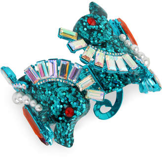 Betsey Johnson Blue-Tone Crystal & Imitation Pearl Glitter Seahorse Bangle Bracelet