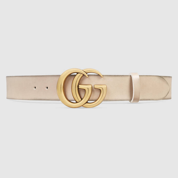Leather belt with double G buckle 7