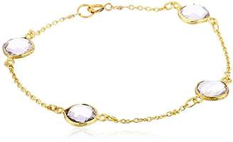 Gold-Plated Sterling Silver Faceted Amethyst Bezel Stations Bracelet