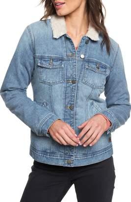 Roxy Sandy Faux Shearling Lined Denim Jacket