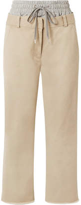 Alexander Wang Layered Cotton-gabardine And Stretch-jersey Straight-leg Pants - Beige