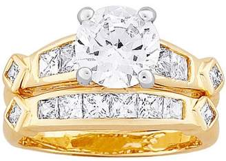 Generic Two-Tone Round and Square CZ Wedding Ring Set, 2-Piece
