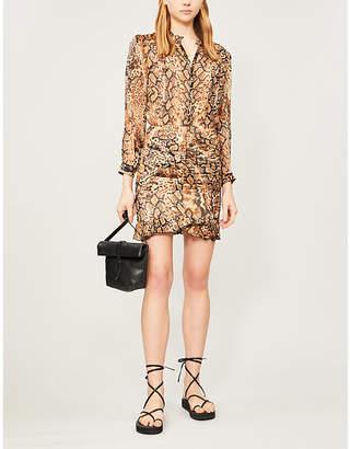 BA&SH Rackel snakeskin-print chiffon mini dress