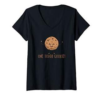 Womens One Tough Cookie - Cute Chocolate Chip Cookie with Muscles V-Neck T-Shirt