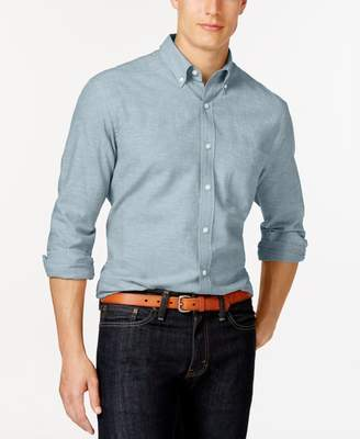 Club Room Mens Linen Long Sleeve Button-Down Shirt Blue L