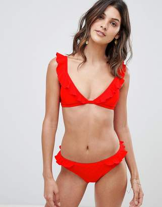 Warehouse bikini briefs with frill detail in red