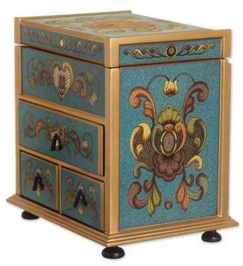 Floral Drawers Teal Wood Jewelry Box with Floral Motifs from Peru