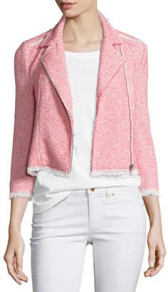 Rebecca Taylor Summer Tweed Zip-Front Jacket, Coral