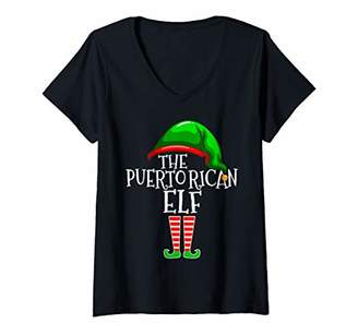Womens Puerto Rican Elf Family Matching Group Christmas Gift Funny V-Neck T-Shirt