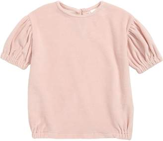 Stem Puff Sleeve Velour Dress