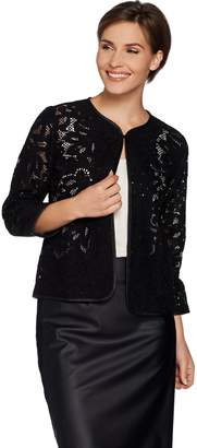 Joan Rivers Classics Collection Joan Rivers Who Are You Wearing Lace Jacket w/ Faux Leather