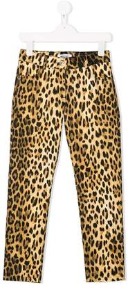 Moschino Kids leopard print fitted trousers