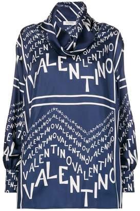Valentino logo print loose blouse