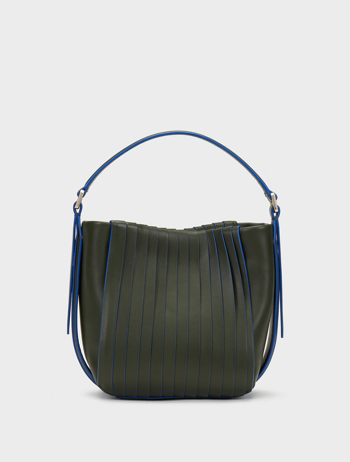 DKNY Mini Calf Leather Pleated Crossbody