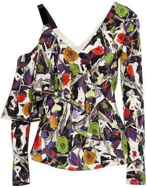 Jason Wu Asymmetric Ruffled Floral-Print Silk Top