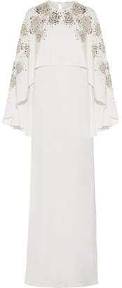 Oscar de la Renta - Cape-back Embellished Silk-satin Gown - Ivory $4,490 thestylecure.com