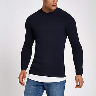 River Island RI Studio navy crew neck muscle fit sweater