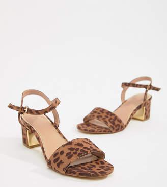 New Look Wide Fit Leopard Print Block Heel Sandal