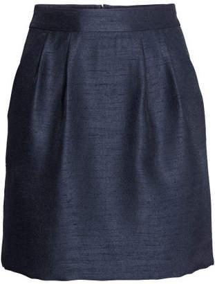 H&M Textured-weave Skirt - Blue