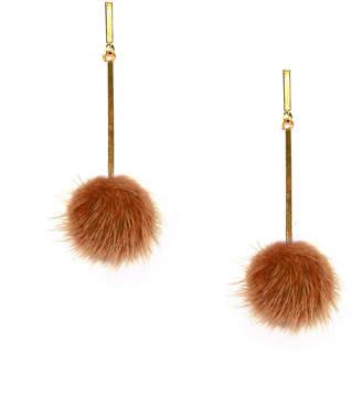 Tuleste Rust Mini Mink Pom Pom Earrings