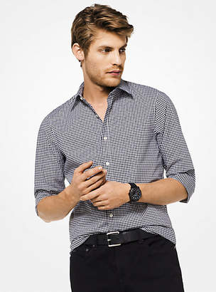 Michael Kors Slim-Fit Gingham Stretch-Cotton Shirt