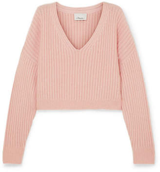 3.1 Phillip Lim Oversized Cropped Ribbed Wool-blend Sweater - Blush
