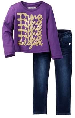 True Religion Long Sleeve Tee & Single End Jean Set (Toddler Girls)