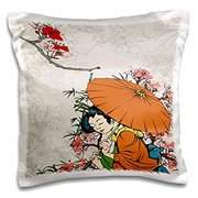 3dRose Lovely Japanese Geisha WIth Umbrella And Sakura Cherry Blossom Flowers Asian Oriental Illustration, Pillow Case, 16 by 16-inch